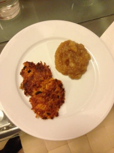 Sweet Potato Latkes and Applesauce at home in Sevilla.