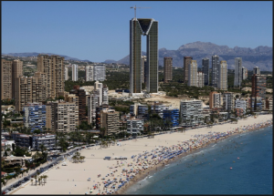 Tacky and overbuilt Benidorm, Spain